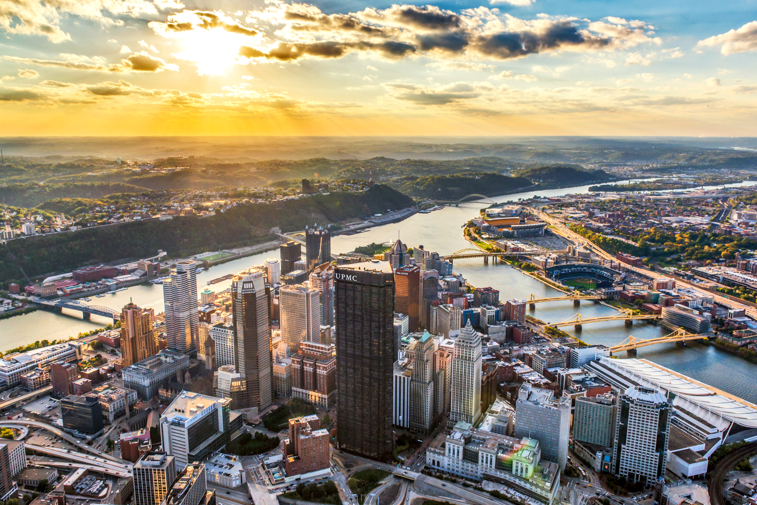 Aerial Skyline view of Pittsburgh, Pennsylvania